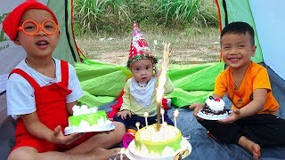 Happy Birthday To Baby At Playhouse Tent Toy With Anto And Brother Pretend Play Making Cakes
