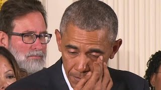 President Obama cries during gun violence speech