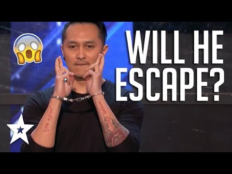 Escape Artist Demian Aditya Audition Shocks Judges and Audience On America's Got Talent 2017 (видео)