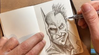 Drawing BATMAN And The JOKER In My Moleskine Sketchbook.