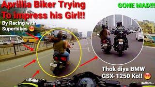Aprillia Biker Trying to Impress his Girlfriend by Racing Superbikes|Crashed BMW GSA-1250|Z900 Rider
