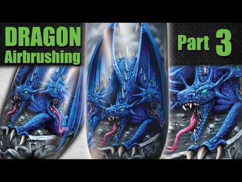 Learn to Airbrush the 3 Headed Dragon, Part 3