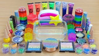 RAINBOW SLIME Mixing makeup and glitter into Clear Slime Satisfying Slime Videos
