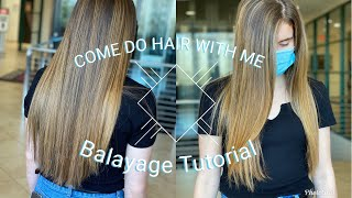HOW TO BALAYAGE: LONG DARK HAIR | FOR BEGINNERS | Come Do Hair With Me