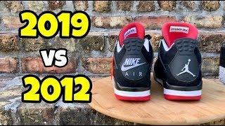 """Jordan 4 """"Bred"""" 2012 vs 2019"""