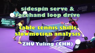 sidespin serve & forehand loop drive table tennis skills slowmotion analysis