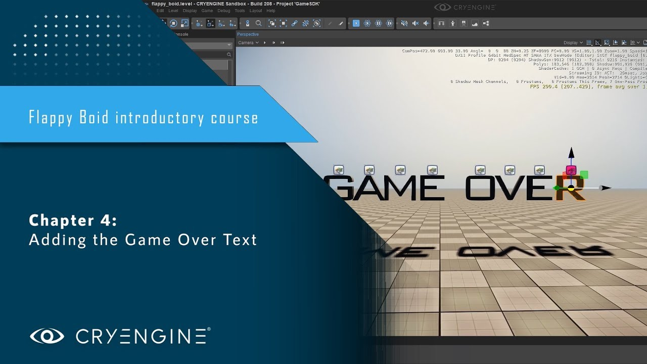 FlappyBoid Introduction to CRYENGINE - Chapter 4: Adding the Game Over Text
