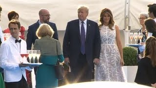 President Trump and First Lady Melania Trump participate in the welcoming ceremony by the host natio