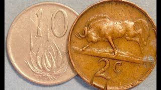 South Africa 2 & 10 Cent Coins: 1970-1990