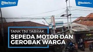 Viral Video Tank TNI Tabrak Gerobak & 4 Motor Warga di Jalan Raya Cipatat, Bandung Barat