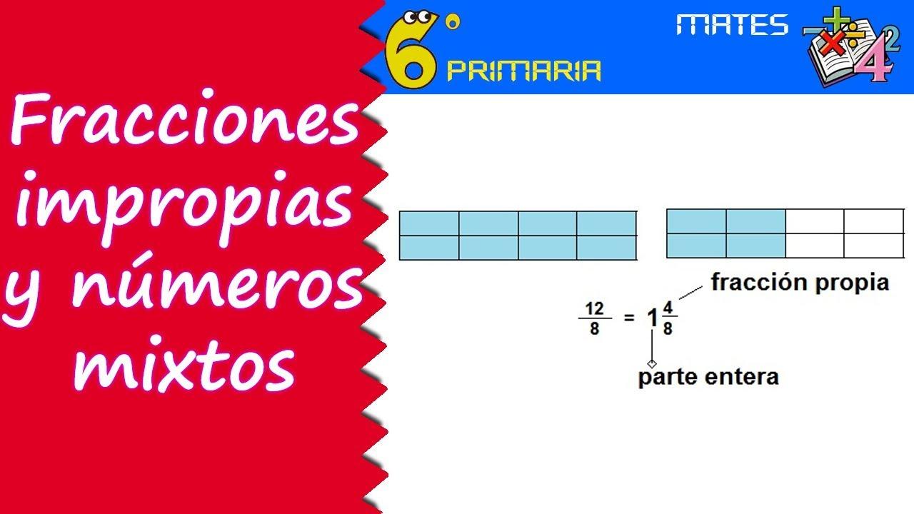 Fracciones impropias y números mixtos. Mate, 6º Primaria