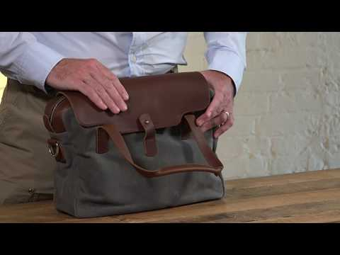 Compact Leather & Waxed Canvas Briefcase Video