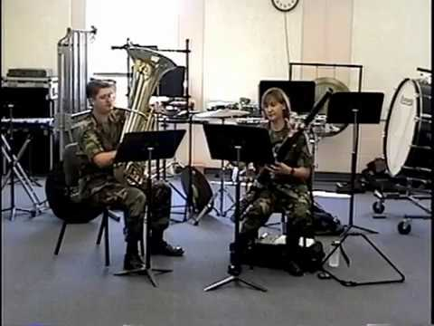 U.S. Army 1st Cavalry Division Band, Ft. Hood, TX, 1999. Bassoon and tuba duet