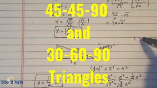 *Special Triangles: 45-45-90 And 30-60-90
