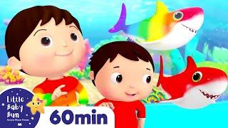 Baby Shark Dance - Rainbow Shark | +More Nursery Rhymes | ABCs and 123s | Little Baby Bum