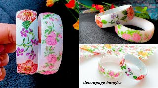 How To Make Floral Bangles With Paper Napkins||decoupage Bangle Bracelet||decoupage Plastic Bangles