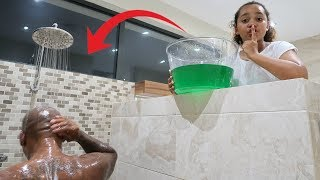 SLIME PRANK IN MY DAD'S SHOWER!!