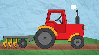 Рисуем вместе Трактор. Развивающий мультик для детей