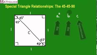 Deriving The 45-45-90 Special Right Triangle