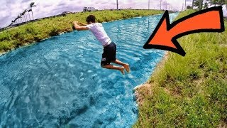 Jumping In Crystal Clear Canal!!! He Actually Did It!!
