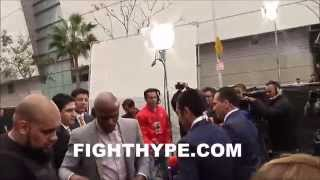 JUSTIN BIEBER HANGS OUT WITH FLOYD MAYWEATHER AND TMT AT MAYWEATHER VS. PACQUIAO PRESS CONFERENCE