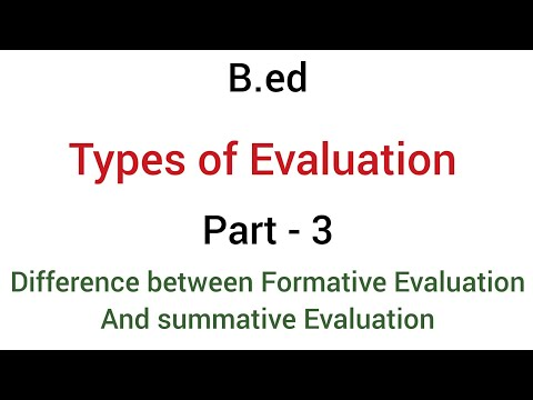 Part - 3 difference between formative evaluation & Summative evaluation | types of evaluation | b.ed