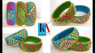 DIY / making silk thread checker model bangles / silk thread bangles making video