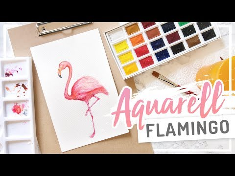 AQUARELL – Watercolor FLAMINGO – Malen mit Wasserfarbe #ALLTAGSINSEL