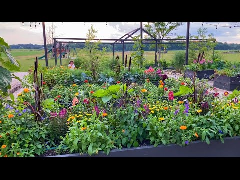 , title : 'Raised Garden Bed Tour | Vegetables & Flowers Mixed