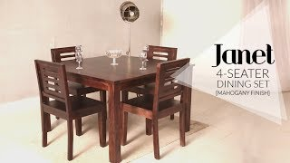 Dining Table Set : Janet 4 Seater Dining Table Set In Mahogany Finish At Wooden Street
