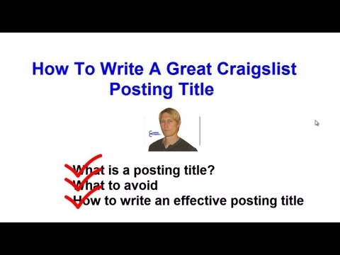 What is a Craigslist Posting Title? How to Write an Effective Craigslist Headline