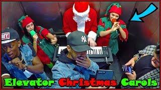 Santa & His Elves Play Christmas Carols in Elevator!!