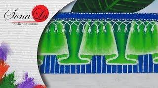 Barrado Falso Em Verde Em Tecido (Aula 206)