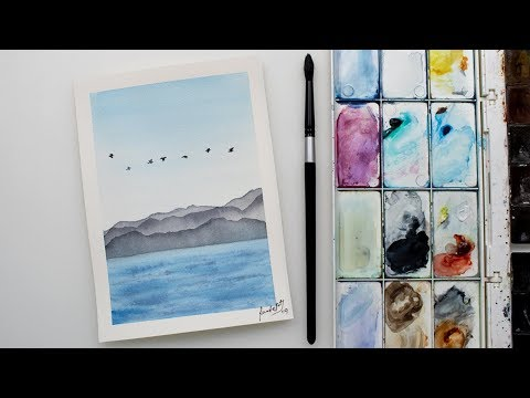 Very EASY SEASCAPE in watercolors for beginners - paint a sky, birds, sea, mountains