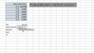 IRR, NPV, and PI for a project in Excel