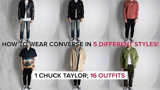 How To Wear CONVERSE CHUCK TAYLOR In 5 DIFFERENT STYLES   5 Styles, 16 Outfits (Streetwear & Casual)