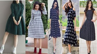 A Line Knee Length Pattern Dress // Kurti For Girls // Women || Latest Dresses / One Piece Design ||