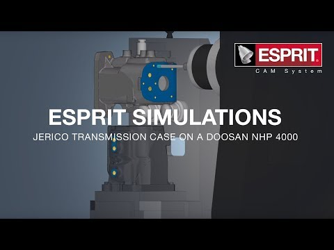 ESPRIT simulation of a Jerico transmission case on a Doosan NHP 4000