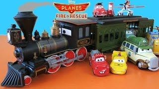 DISNEY PLANES FIRE & RESCUE SQUAD MUIR TRAIN TRANSPORTER STEAM ENGINE DUSTY PISTON PEAK