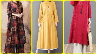 Chinese Style Cotton Linen Loose Maxi Dresses For Women