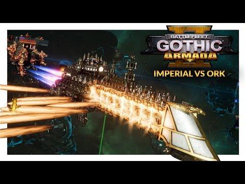 BATTLEFLEET GOTHIC ARMADA 2 | Imperial Navy vs Orks (1v1 Gameplay Ranked Battle 27)