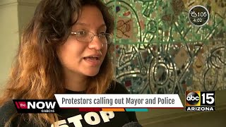 Protesters react to Phoenix Police after President Trumps rally -