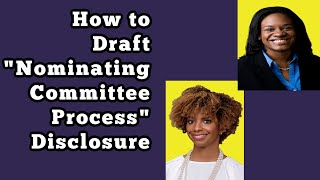 """How to Draft """"Nominating Committee Process"""" Disclosure for the Proxy"""