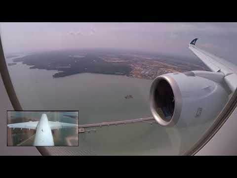 air-clips] RARE! Airbus A350-1000 Split-Screen Landing in Singapore