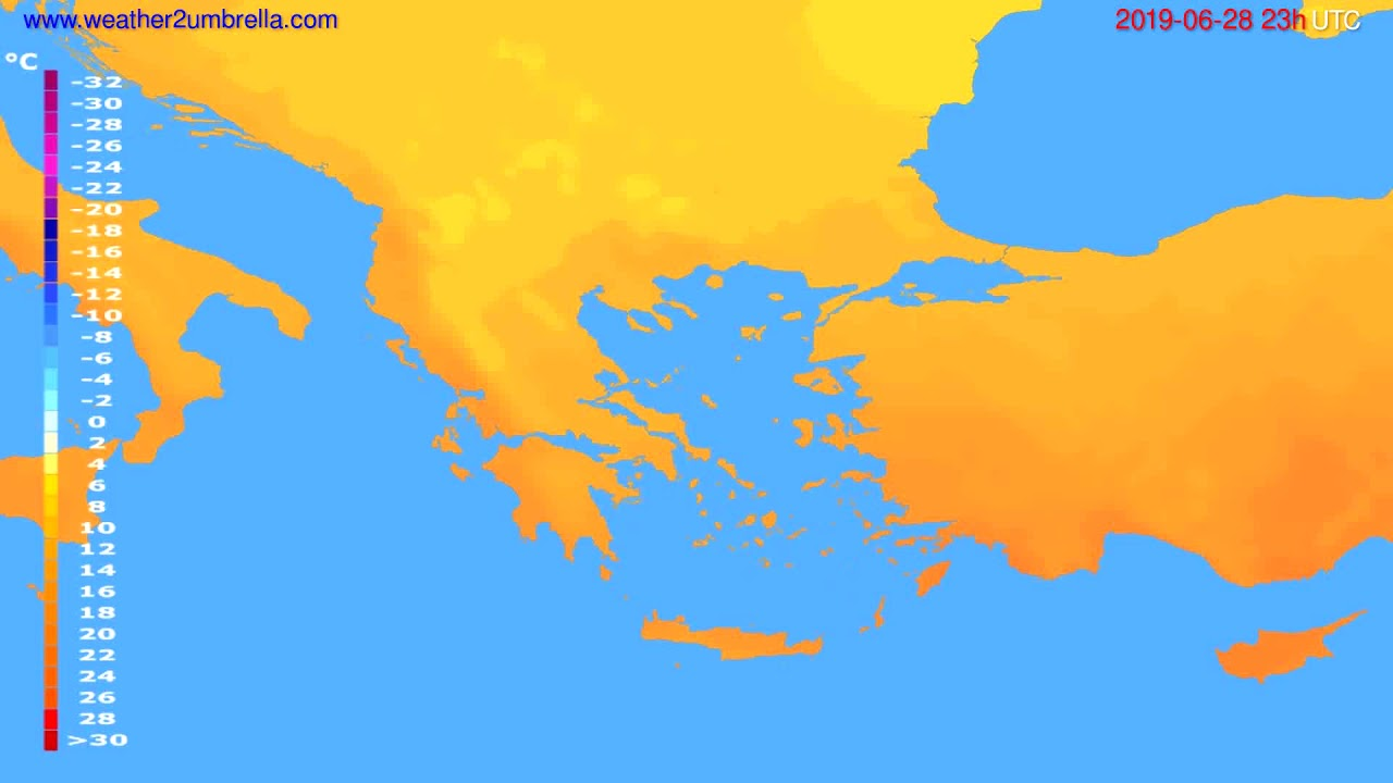 Temperature forecast Greece // modelrun: 12h UTC 2019-06-25