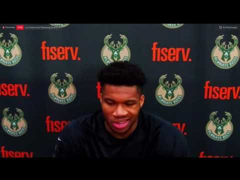 Giannis Antetokounmpo after being ejected for headbutting