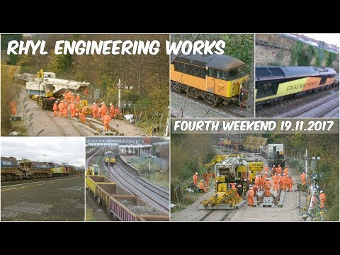 Rhyl track relaying with Colas Rail Class 56 & 60, plus Kiro…
