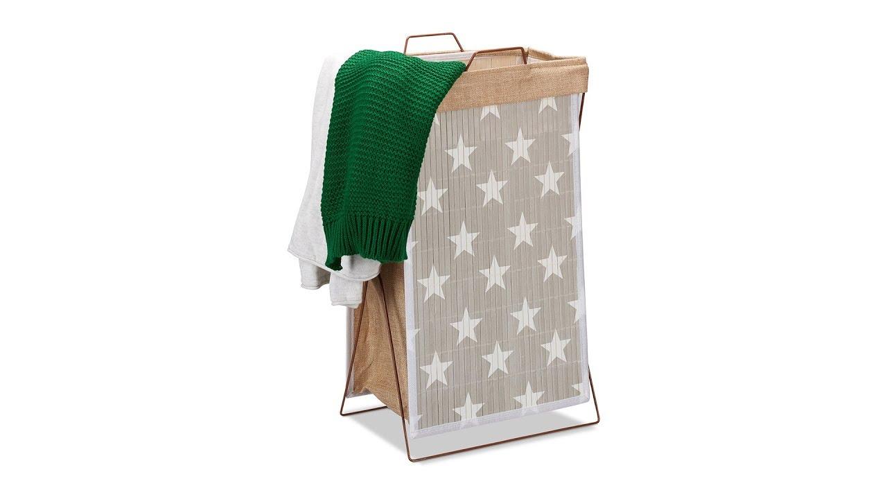 Video von: Bambus Wäschekorb Sterne 40 l