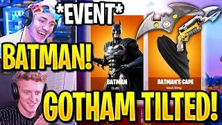 STREAMERS REACT TO *NEW* BATMAN EVENT! GOTHAM CITY + FREE ITEMS! (Fortnite)