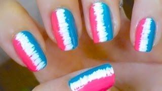 Unhas Pink And Blue - Nail Art